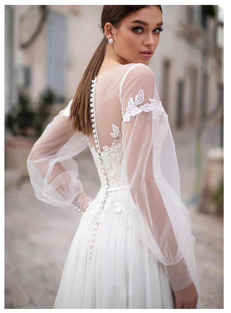 Fairy LORIE Beach Wedding Dress Lace Appliques New Design Buttons Back Bridal Dress floor Length Wedding Gowns-in Wedding Dresses from Weddings & Events    1