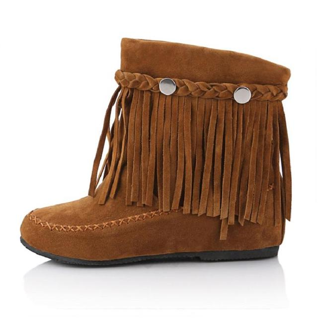 Women's Tassel Fringe Suede Leather Ankle Boots