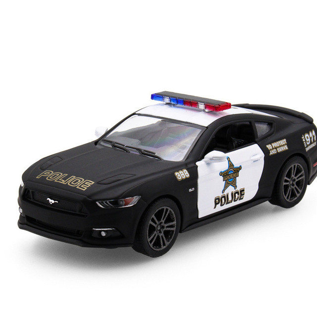 Kinsmart  Ford Mustang Gt Police Car Alloy Model Toys Sports Cars Door Open