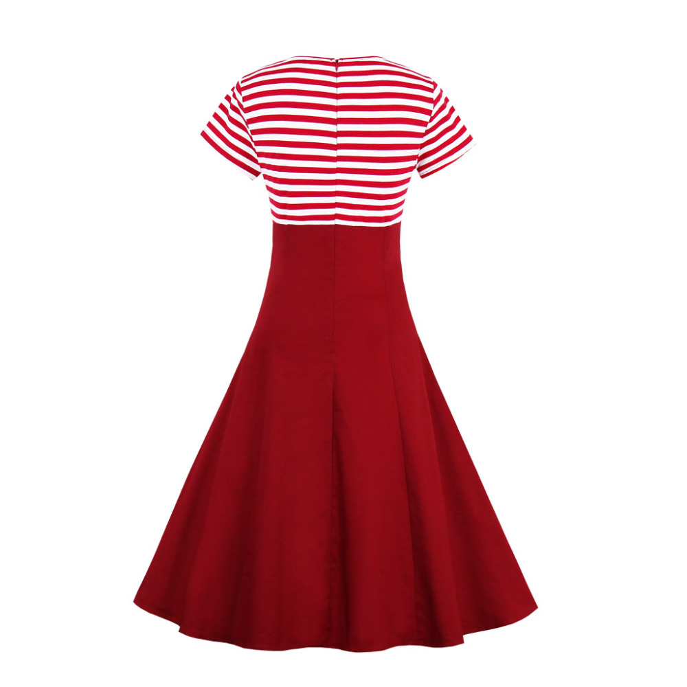 3XL 4XL Plus Size Women Pin Up Red White Striped Patchwork Dress Retro Short Sleeve Botton Docorated 1950s Vintage Dress