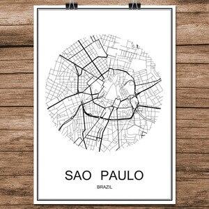 Черно-белая карта городов мира Сан-Паулу Бразилия печать постер бумага с покрытием для кафе гостиной украшение дома стикер на стену