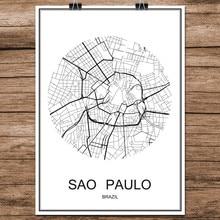 Mapa de ciudades del mundo en blanco y negro de SAO PAULO, cartel de impresión de Brasil, papel recubierto para café, sala de estar, decoración del hogar, adhesivo artístico para pared