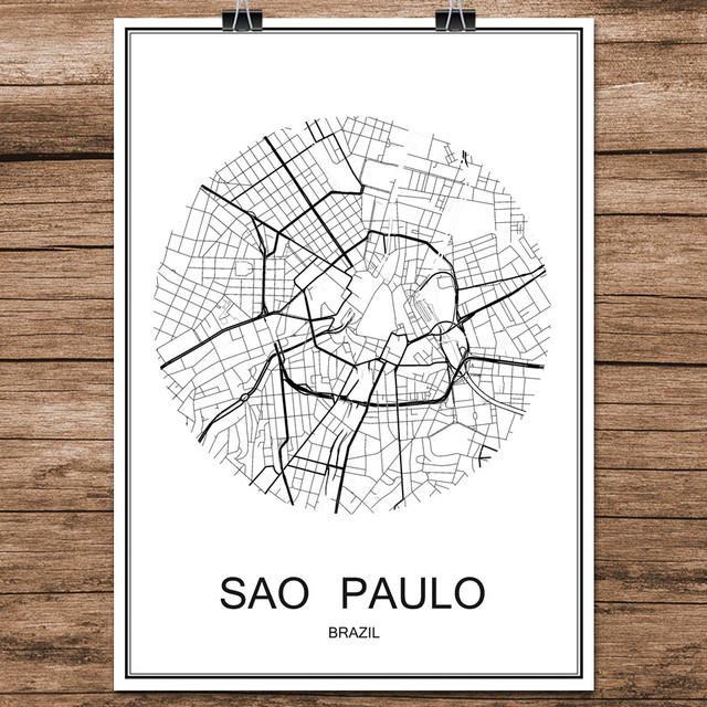 Black white world city map of sao paulo brazil print poster coated black white world city map of sao paulo brazil print poster coated paper for cafe living gumiabroncs Images