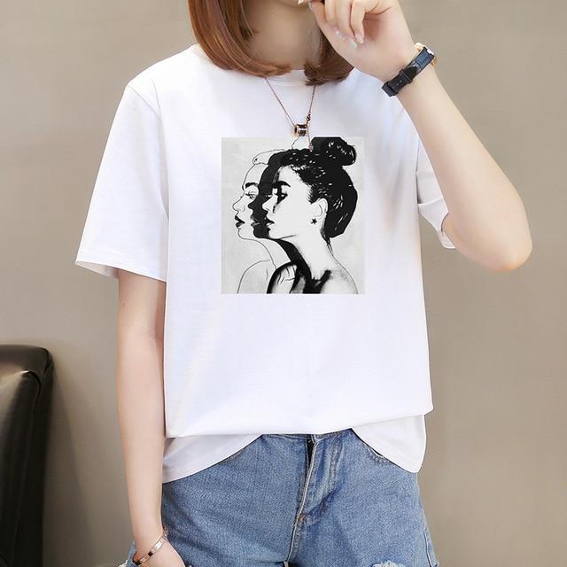 EACHIN 2019 Fashion Cool Print Female T-shirt White Cotton Women Tshirts Summer Casual Harajuku T Shirt Femme Top