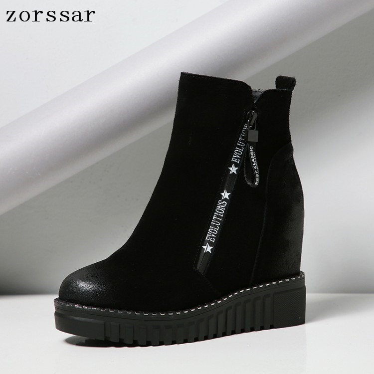{Zorssar} 2019 Fashion womens winter boots suede Leather height increasing women high heel ankle boots Platform wedges boots zorssar 2017 new winter female shoes suede platform height increasing ankle snow boots fashion buckle high heels women boots