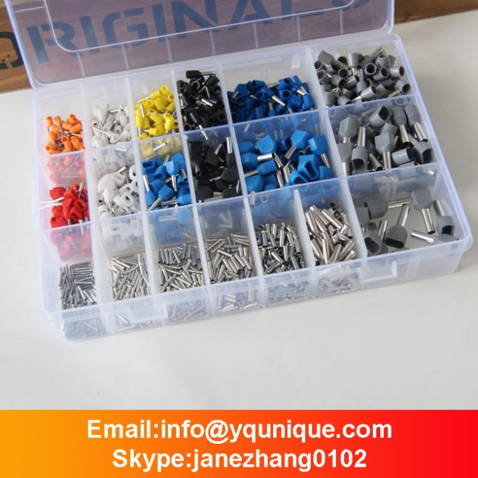 Free Shipping 1500pcs Bootlace Ferrules Kit (Non-insulated + Single + Double Entry) Twin Cord End 0.5-4mm2  от Aliexpress INT