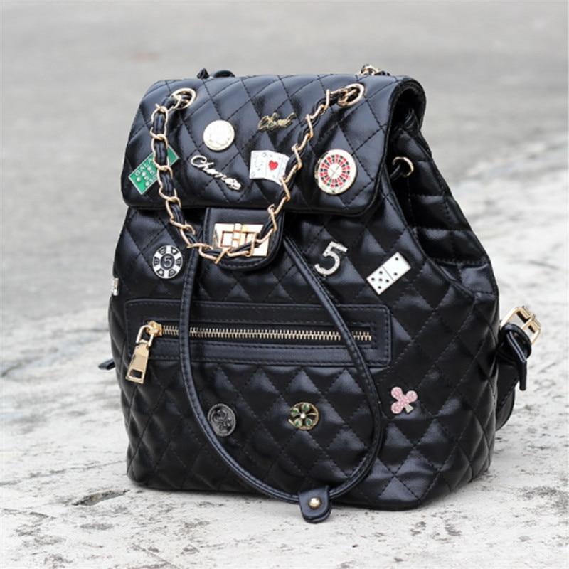 B0141 women black diamond lattice backpack black red pu leather chain drawstring backpack travel bag shool bag drawstring pu backpack