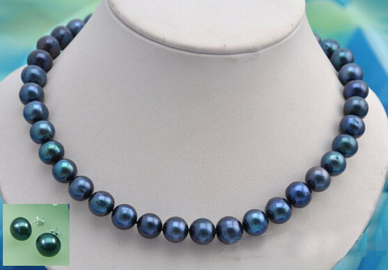 FREE shipping1711mm round black fresh water pearl necklace earring