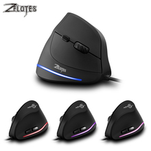 лучшая цена ZELOTES T20 Gaming mouse 6 Buttons 3200 DPI Ergonomics Vertical Optical Right Wired mice Game USB mouse  For PC Laptop Notebook