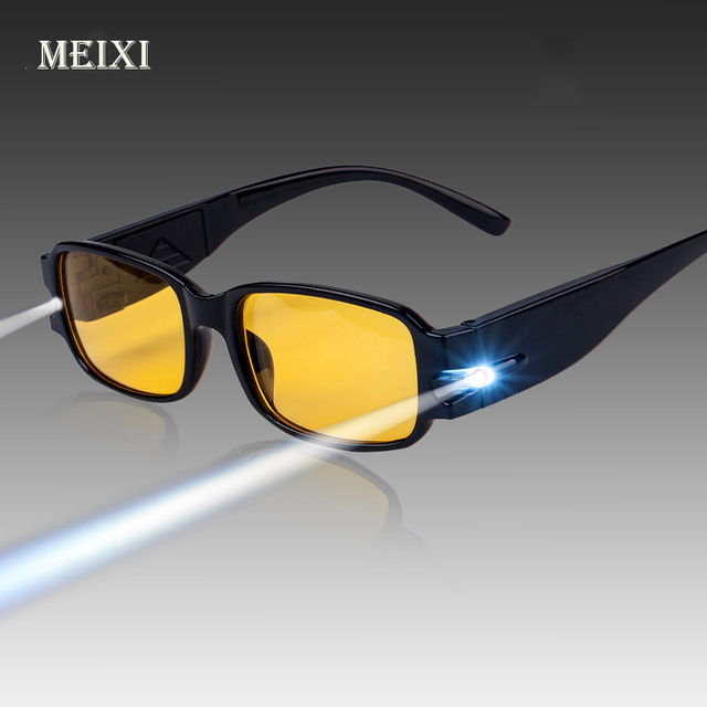 HOT! Unisex Adjustable Magnetic Therapy And Health Protection Reading Glasses With LED Light With Money Detect