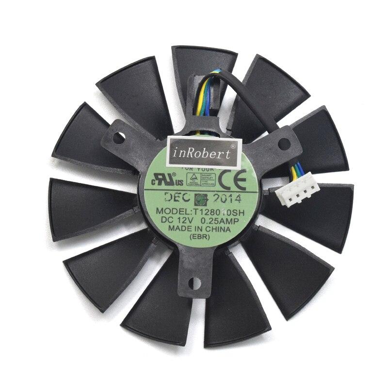 75mm T128010SH DC 12 V 0.25A ventilador del refrigerador para ASUS STRIX GTX1060 1050 GTX960 GTX950 GTX750Ti R9 370 gráfico tarjeta