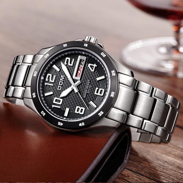DOM  luxury waterproof quartz stainless steel sports watch for men