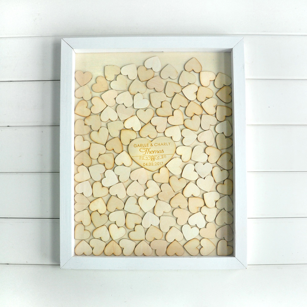 custom drop top guestbook white frame personalised wedding guest book alternative wood heart guest book