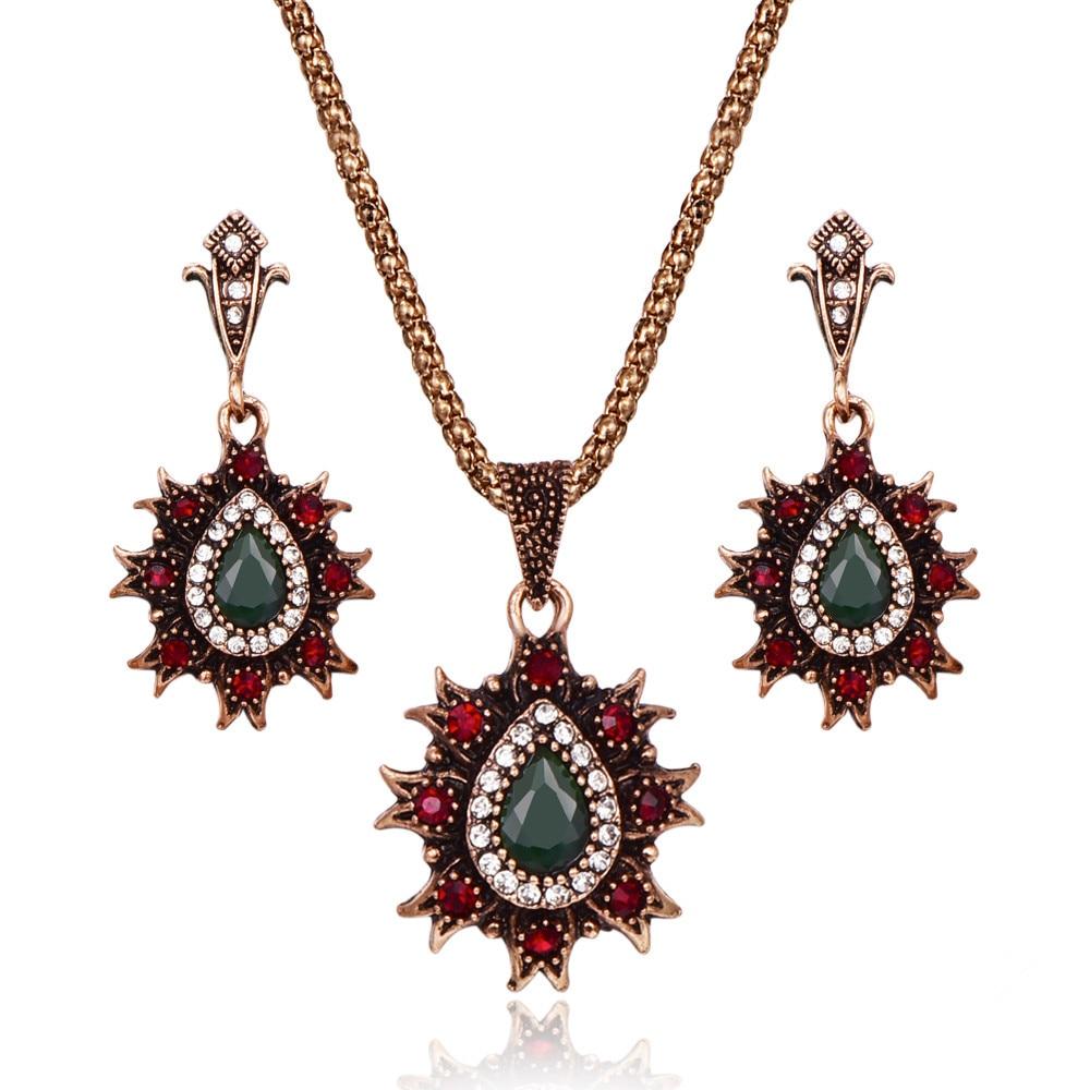 Big Water Drop Crystal Pendant Necklace Earrings Set Wedding Jewelry Green Red Boho Jewel