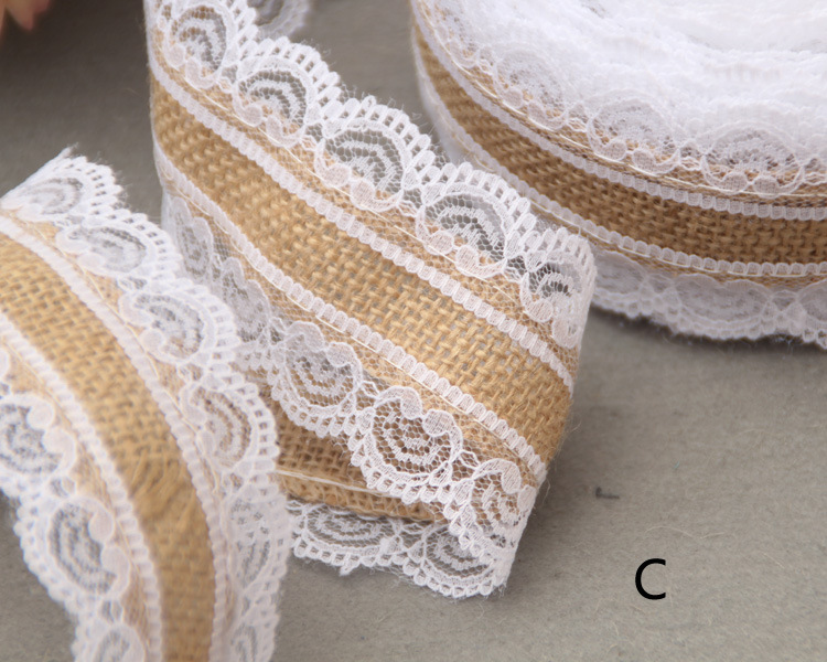 10m Natural Jute Burlap Hessian Lace Ribbon Roll+White Lace Vintage Wedding Decoration Party Christmas Crafts Decorative AA8052