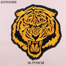 ZOTOONE Iron On Big Tiger Patches For Clothing Jacket Jeans Appliqued Heat Transfer Animal Applications Clothes E
