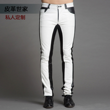 29-37 ! Men's new clothing high quality fashion color block genuine leather pants calf skin leather trousers singer costumes