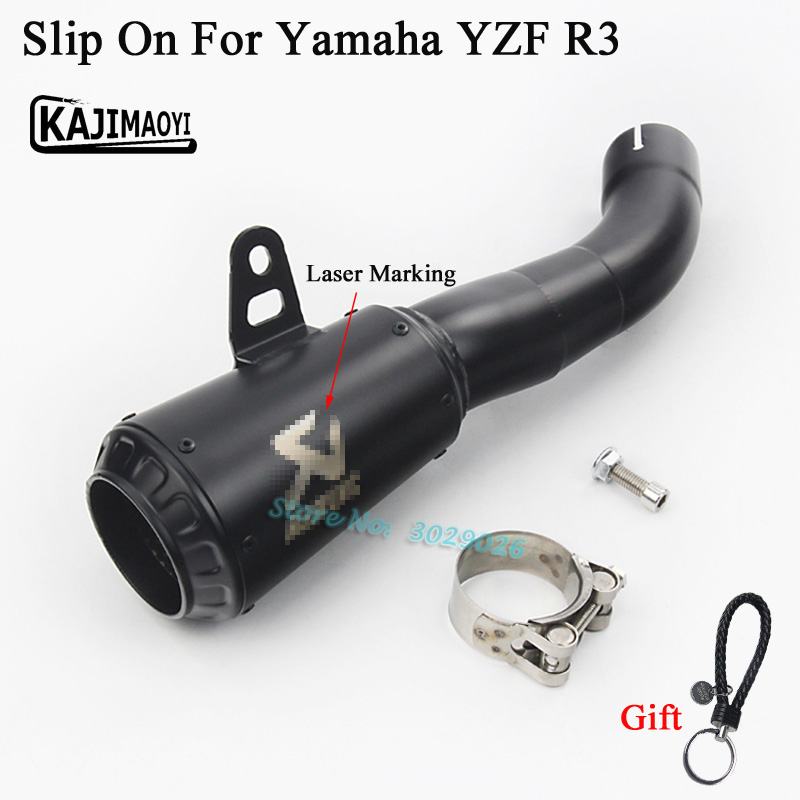 YZF R3 Slip On Motorcycle 45mm Exhaust Laser Marking Muffler Middle Pipe For Yamaha R3 Escape Echappement For YZF-R3 2015 2016 цена