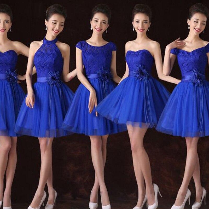 robe demoiselle d'honneur 2019 new 7style lace royal blue   bridesmaid     dresses   short wedding party   dress   plus size