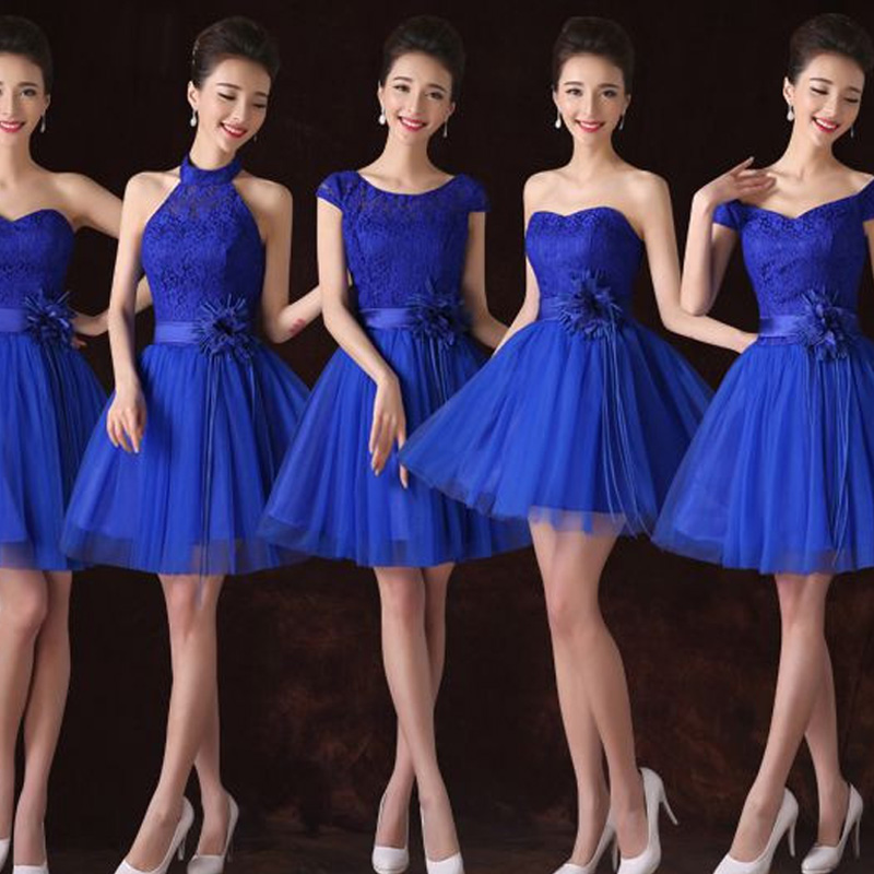 Vestido De Festa Para Casamento New Lace Cap Sleeve A Line 6style Royal Blue Bridesmaid Dresses Short Wedding Guest Gown