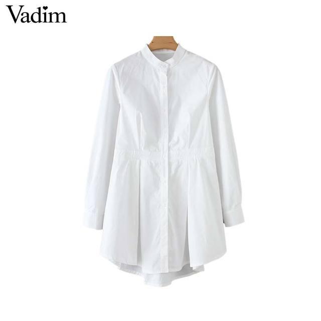 Vadim נשים שיק לבן ארוך חולצה סימטרי ארוך שרוול צווארון עומד קפלים חולצה מוצק נקבה מקרית חולצות blusas LA465