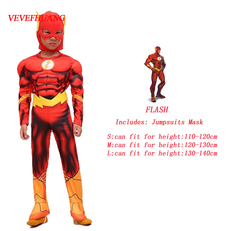 VEVEFHUANG The flash Muscle Kids DC comic Superhero fancy dress fantasia halloween costumes disfraces for child boy's cosplay