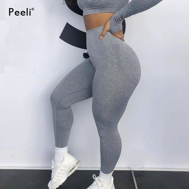 eea04cb724159 Peeli High Waist Seamless Leggings Tummy Control Yoga Pants Women Push Up Sports  Leggings Fitness Running Stretchy Gym Tights