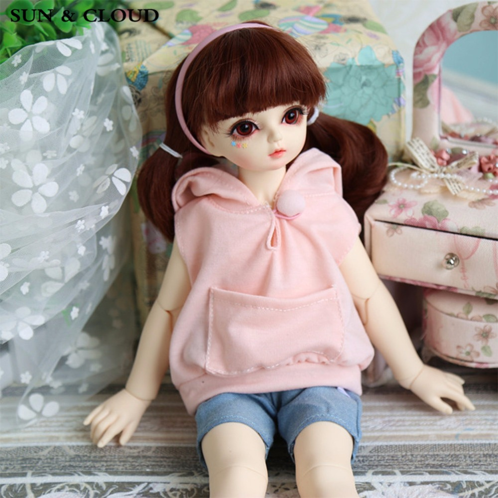 SUN & CLOUD 2 Pcs/Set Cute Rabbit Ear Hoodie Top Short Pant Outfit For 1/4 1/6 BJD SD MSD Dollfie Doll Clothes Pink lovely animal pajamas animal outfit for bjd doll 1 6 yosd super dollfie luts dod as dz doll clothes al4