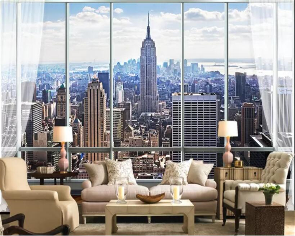 Us 896 44 Offbeibehang Papel De Parede 3d Wall Paper Adhesive Home Decor Stereo Window New York Wallpaper Bedroom Wallpapers For Home Walls In