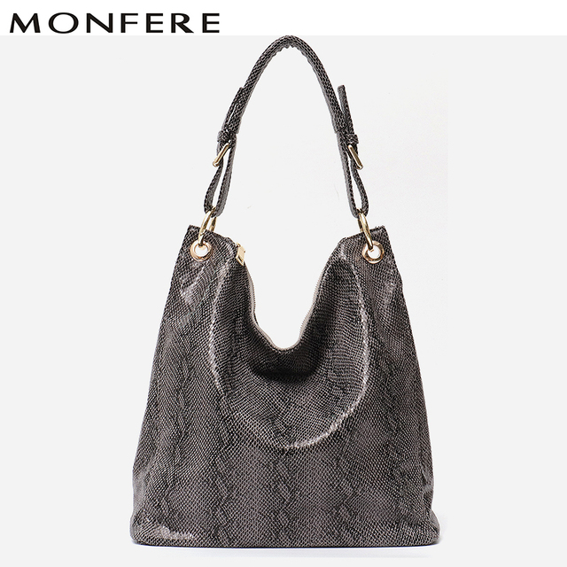 MONFERE Women Hobos Messenger Bags Leather Fashion Handbags Female Designer  Bag Vintage Big Size Tote Shoulder Bag High Quality 2551784e0c944