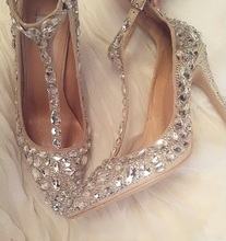 Elegant Rhinestone Embellished Pumps Women Shoes Pointed Toe T-strap Crystal Decor Stiletto Heels Wedding Bride Shoes цена