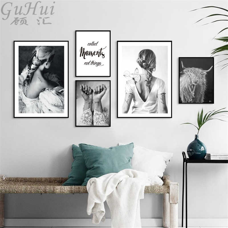 Nordic Black and White Tattoos Beauty Figure Canvas Painting Minimalism Text Art Poster Yak Photo Wall Picture Living Room Decor
