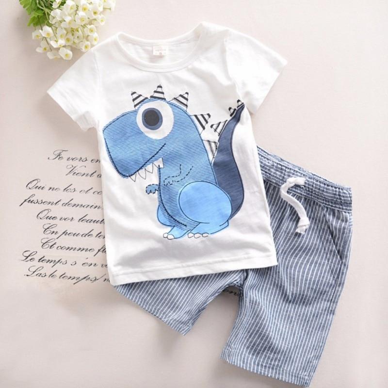 Summer Boys Girls Kids Casual Tees Dinosaur Printed Short Sleeve Cotton T-Shirts Tops + Shorts 2pcs Set стоимость