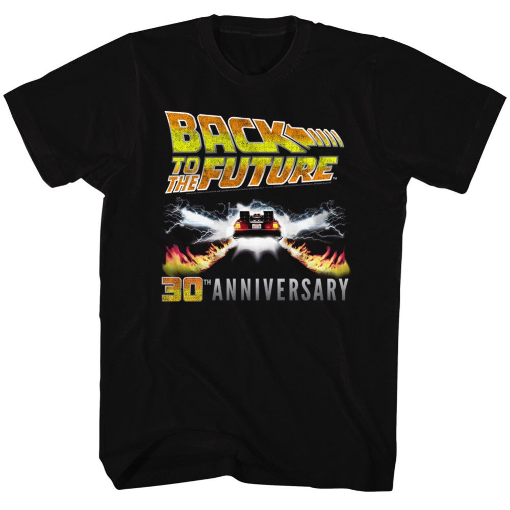 T-Shirts Back To The Future 30Th Anniversary Logo Black Adult T-Shirt T-Shirt Men T Shirt Tops Tees