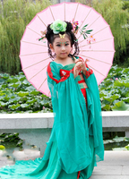 Green Red Tang Embroidery Princess Hanfu Mum Daughter Sets Children's Day Stage Performance Hanfu Photography Costume