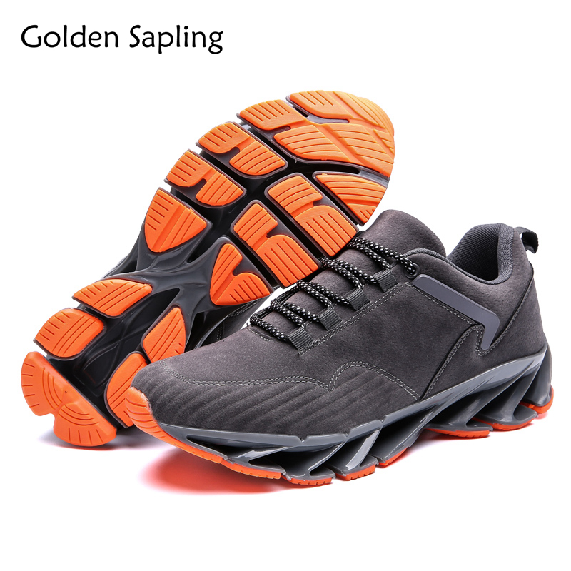 Golden Sapling Running Shoes for Men Sneakers Air Cushion Lace Up Men's Sport Shoes Top Rubber Sole Trail Running Men's Sneakers glowing sneakers usb charging shoes lights up colorful led kids luminous sneakers glowing sneakers black led shoes for boys