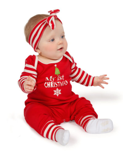 Newborn Baby Girls Striped Christmas Romper with Headband Outfits Clothes 0-2T kids ruffle tie neck striped romper