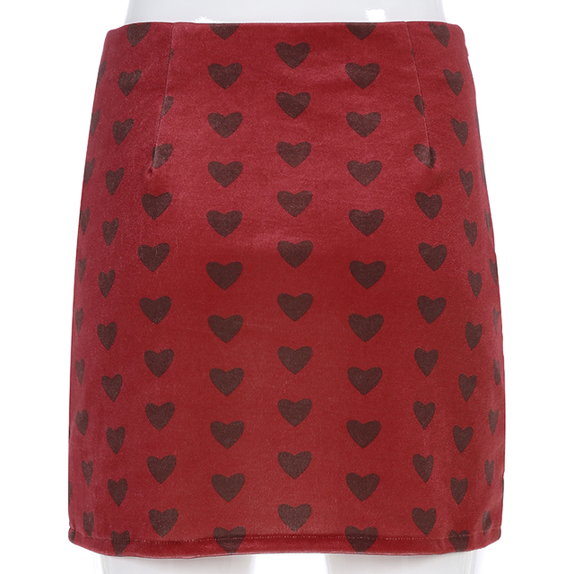 Sweetown Red Velvet High Waist Skirt Streetwear Heart Print Zipper Cute Skirts Womens Preppy Style A-Line Mini Skirt Harajuku 6