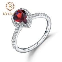 อัญมณีบัลเล่ต์ 925 เงินสเตอร์ลิง Halo แหวน 1.36Ct สีแดงธรรมชาติ GARNET หมั้นแหวนสำหรับเครื่องประดับ