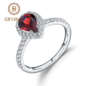 Image 1 - Gems Ballet 925 Sterling Silver Halo Ring 1.36Ct Natural Red Garnet Wedding Engagement Rings For Women Fine Jewelry