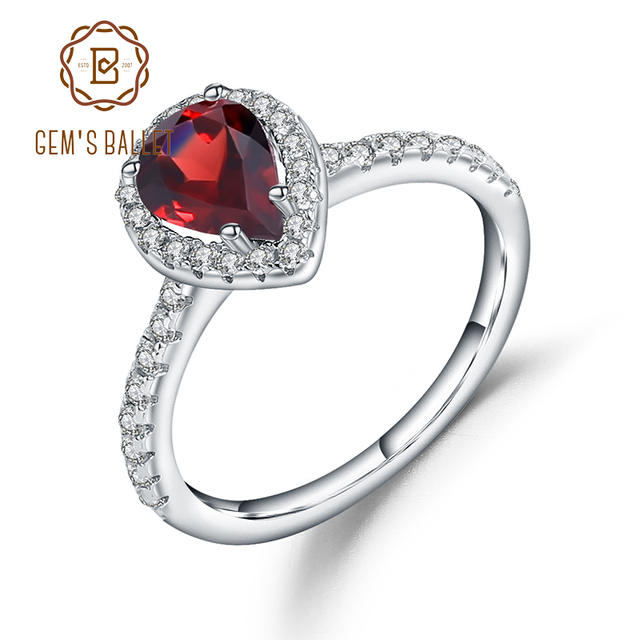 Gems Ballet 925 Sterling Silver Halo Ring 1.36Ct Natural Red Garnet Wedding Engagement Rings For Women Fine Jewelry