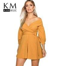 Kissmilk Plus Size Women Clothes European And American Style Strapless Cross-wrap Chest Strap Dress