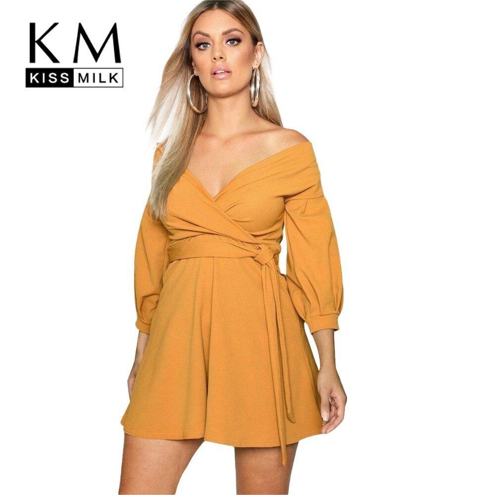 Kissmilk Plus Size Women Clothes European And American Style Strapless Cross wrap Chest Strap Dress