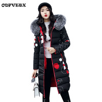 Plus Size winter down cotton coat female new two sides wear Cotton Thick warm casual outwear Big fur collar Hooded women jacket