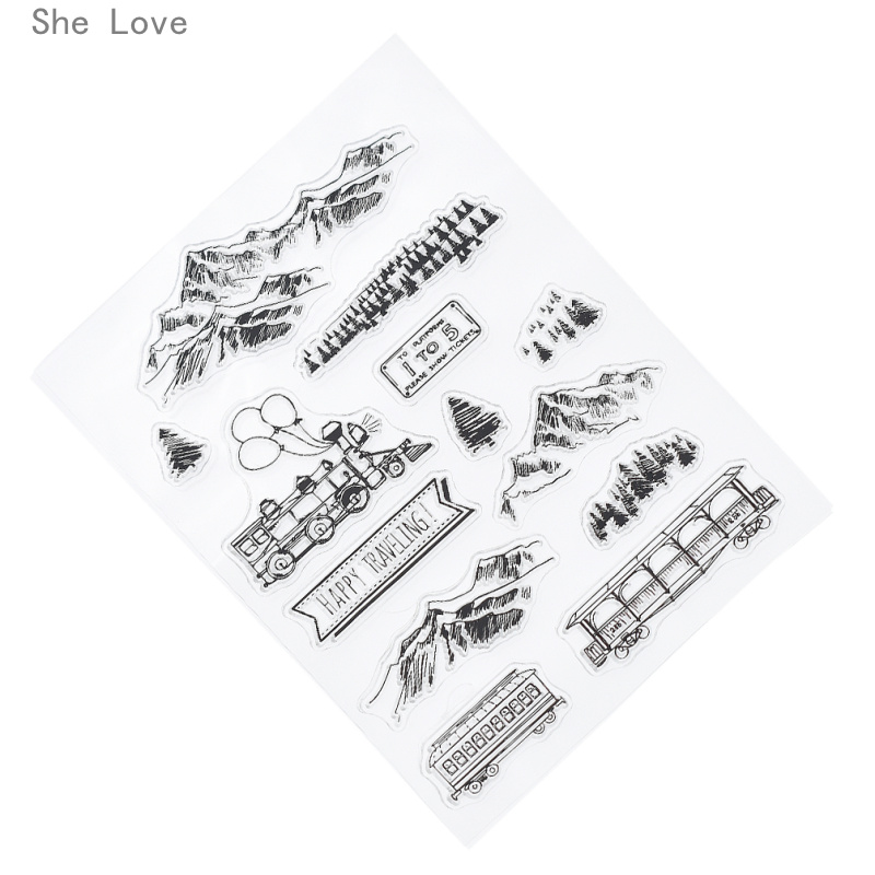 She Love Happy Journey Transparent Clear Silicone Stamp