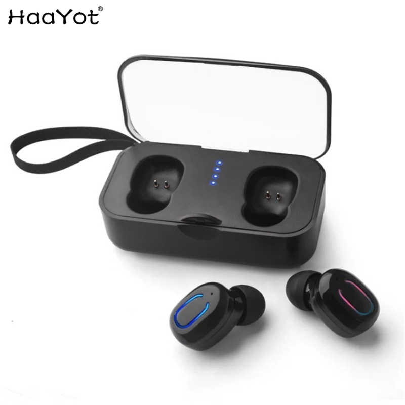 HAAYOT Bluetooth Earphones 5.0 TWS Mini Wireless Earbuds Stereo Headset with charging box Portable Cordless Headphone Handsfree