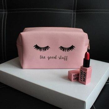 Pink Handbag kawaii Eyelashes Cosmetic Bag PU Makeup Pouch Beauty Case Vanity Make Up Bag For Women Travel Organizer Kit etui Makeup Bags & Cases