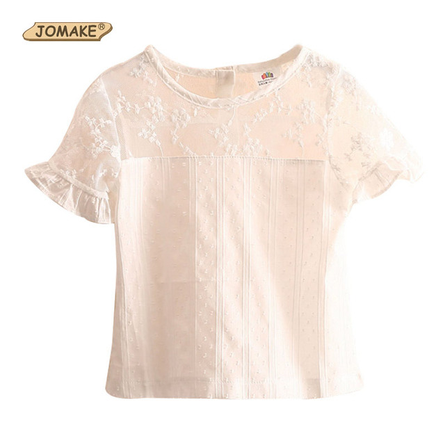 2bd2d50596eb5 Casual Solid Lace Girls T Shirt Short Sleeve 2018 Summer Kids Clothes Cute  Girl T-