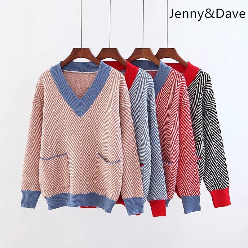 Jenny et Dave 2018 angleterre style sweate automne et d'hiver v-cou rayé poches tôlé jachère pulls Femmes de chandail 0906