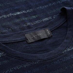 Image 5 - KUEGOU 2020 קיץ 100% כותנה פס כחול חולצה גברים חולצת טי מותג חולצה קצר שרוול טי חולצה עבור זכר בגדים חולצות 8123